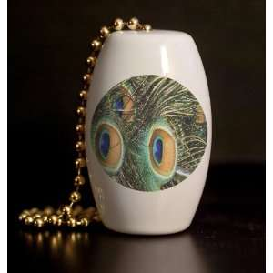 Peacock Print Porcelain Fan / Light Pull Home Improvement