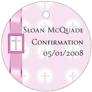 Wedding Favors Pink Ribbon Cross Design Circle Shaped Personalized