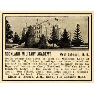 1908 Ad Rockland Military Academy West Lebanon N. H