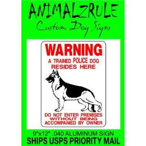 POLICE K 9 GERMAN SHEPHERD DOG SIGN 9x12 ALUMINUM