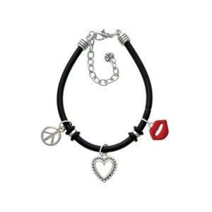 Red Lips Black Peace Love Charm Bracelet