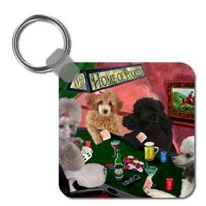 Poodle Four Dogs Playing Poker Keychain: Kitchen & Dining