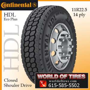 Semi Truck Tires 11R22.5 Continental HDL Eco Plus 11R 22.5 11225
