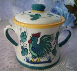 Teal Green & Blue ROOSTER SUGAR & CREAMER SET China
