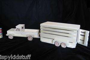 AMISH Wood Wooden Toy Horse Farm PICKUP TRUCK and HORSE TRAILER SET