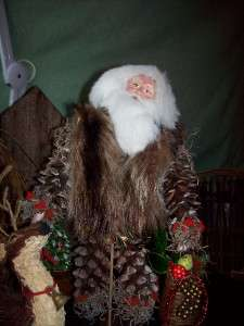 Big Pinecone Santa,Paper Mache, Fur Vest, and Deer