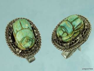 VINTAGE STERLING SILVER & OLD CLAY EGYPTIAN SCARAB BEETLE CUFFLINKS