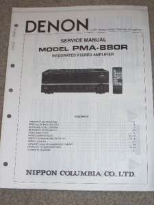 Denon Service/Operation Manual~PMA 880R Amplifier Amp