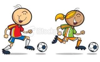 Boy And Girl Play Football Royalty Free Stock Vector Art Illustration