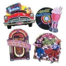50S DINER ROCK AND ROLL THEME CUTOUTS PARTY WALL DECORATIONS