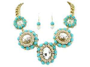 Faux Pearl and Clear Rhinestone Statement Necklace and Earring Set