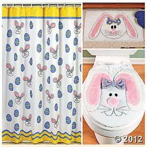 ... CUTE EASTER BUNNY DECOR COMPLETE BATHROOM ACCESSORY SET NEW ...