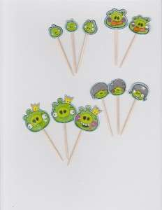 Angry Birds Cupcake Cake Toppers Birthday Party decor (30 pieces