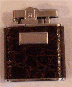 Vintage RONSON Cigarette Lighter Alligator/Chrome