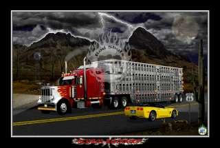 Truck art,garage art,hot rod art,Route 66 art, Peterbilt & Corvette