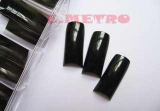 500 French False Nail Art Tip Artificial Black with Box