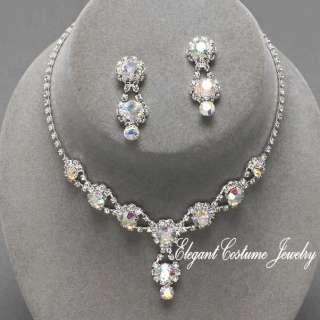 Aurora Borealis Bridesmaid Prom Crystal Necklace Set ~ Elegant