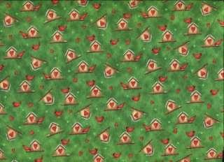 SM CARDINALS BIRDHOUSES HEARTS GRN Cotton Quilt Fabric