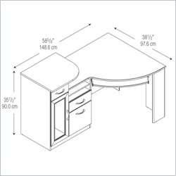 Bush Vantage Corner Wood Black Computer Desk 042976669157