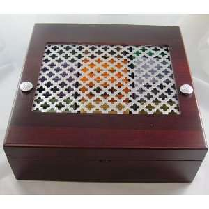 Decorative Celtic Lucky Irish Wood Tea Box with Tin Window includes