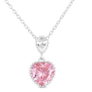 Pink CZ Sterling Silver Heart Pendant, 18 Pendants & Necklaces