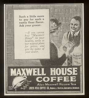 1921 Maxwell House coffee vintage print ad