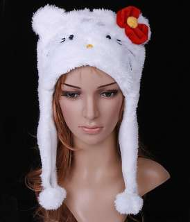New Lovely Cartoon Animal Cute Cat Plush Soft Warm Cap Hat Scarf White