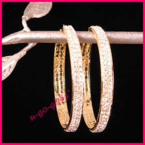 Double Rhinestone Hoop Earrings (Gold/Silver; 4 Sizes)