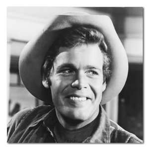 Doug McClure The Virginian Smiling B&W Stretched Square