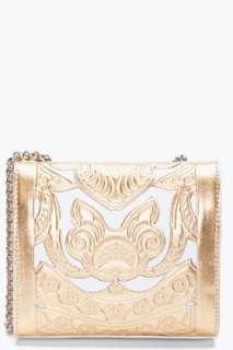 Balmain Gold Tone Ultimate Embossed Shoulder Bag for women  SSENSE