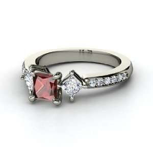 Caroline Ring, Princess Red Garnet 14K White Gold Ring