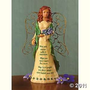 BEAUTIFUL CHARMING IRISH ANGEL FIGURINE WITH IRISH BLESSING POEM NEW
