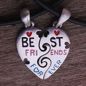 Best Friends pewter pendant w 2 Black rubber Necklaces