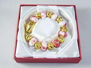 Stretch EUROPEAN Bracelet 17 Charms Gold & Pink inc Gift Box