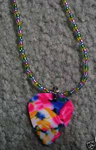 20 Pink Yellow Green Blue Guitar Pick Beaded Necklace
