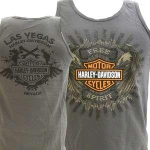 Harley Davidson Las Vegas Dealer Tank Top Tee T Shirt GRAY MEDIUM