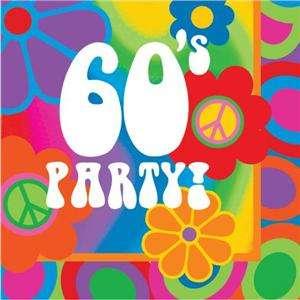 Groovy 60s Flower Power Theme Party Napkins x 16