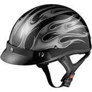 GLX DOT Half Motorcycle Helmet, Flame Silver, XXL