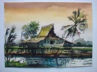Bakar Original Watercolor Painting Landscape Art