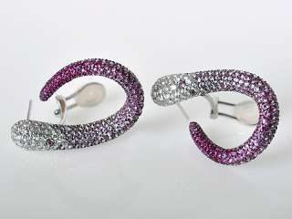 Salavetti 18K White Gold Diamond Pink Sapphire Earrings