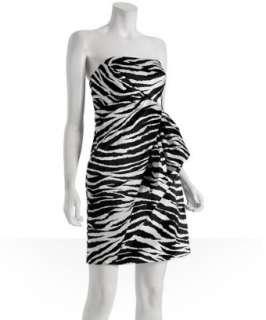 by Allen Schwartz black white zebra printed sateen dress