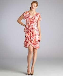 Carmen Marc Valvo red floral chiffon ruffle detail dress