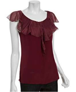 Geren Ford dark red silk ruffle front blouse