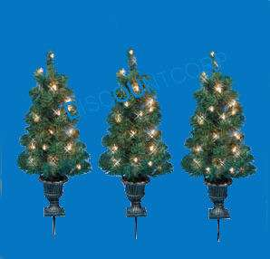 OUTDOOR ARTIFICAL PRE LIT CHRISTMAS TREES POTTED PATHWAY LIGHTS