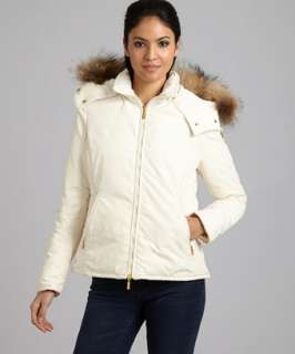 Moncler ivory zip front Amiens fur trim hooded jacket   up