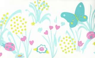 Lola Caselio Girls Wallpaper Border Butteryfly love hearts pink duck