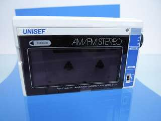 Vtg Unisef AM FM Portable Stereo Radio Cassette Tape Player Walkman