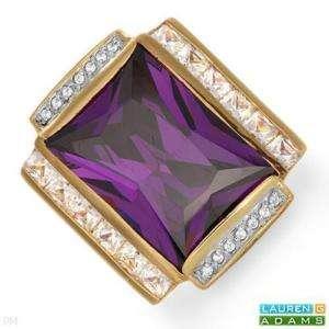 LAUREN G. ADAMS Purple Crystal Cocktail Ring Sz 6 $369