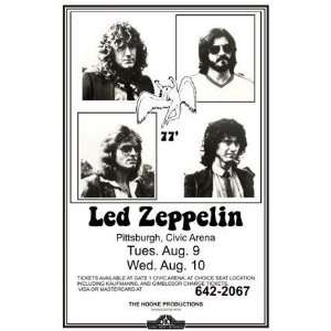 Led Zeppelin Page Plant 1977 LIVE 11x17 Rare Very Limited