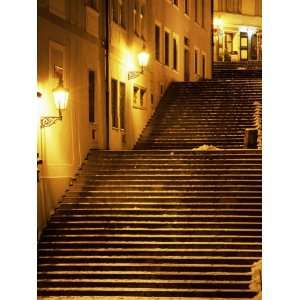 Snow Covered Radnicke Steps in Mala Strana Suburb at Night, Prague